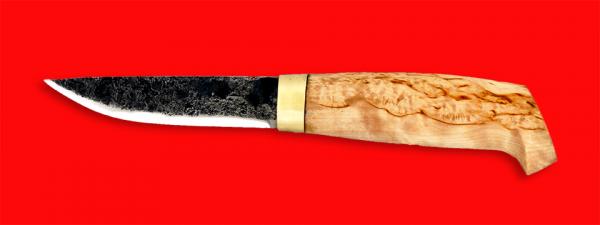 """Нож """"Карелия №1"""", ручная ковка, клинок сталь 9ХС, рукоять карельская берёза"""