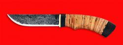 Охотничий нож Грибник ручная ковка, клинок сталь 9ХС, рукоять береста