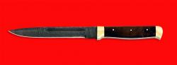 Нож Диверсант №1 на основе штык ножа, цельнометаллический, клинок дамасская сталь, рукоять орех, латунь