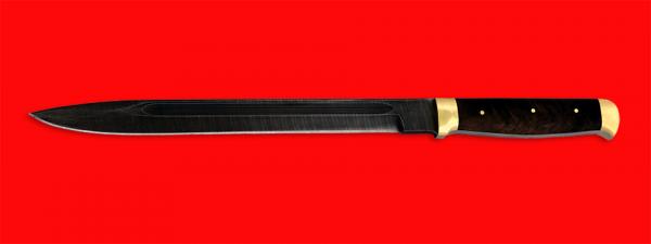 """Нож """"Диверсант №2"""" на основе штык ножа, цельнометаллический, клинок дамасская сталь, рукоять орех, латунь"""