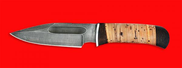 """Нож """"Экстрим"""", клинок дамасская сталь, рукоять береста"""