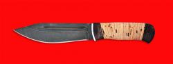 Нож Тундра, клинок дамасская сталь, рукоять береста