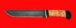 Нож Полярник, клинок дамасская сталь, рукоять береста