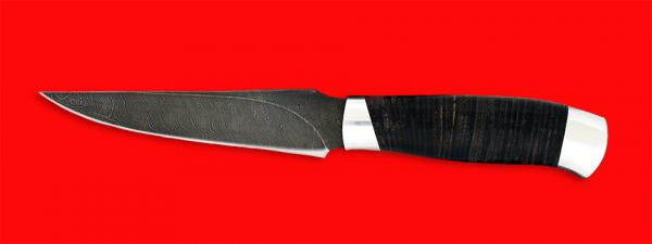 """Нож """"Колыма"""", клинок дамасская сталь, рукоять кожа, металл"""