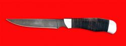 Нож Иртыш, клинок дамасская сталь, рукоять кожа, металл