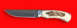 Охотничий нож Бурундук, цельнометаллический, клинок сталь 95Х18, рукоять лосиный рог