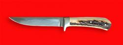 Нож Засапожный №1, цельнометаллический, клинок сталь 95Х18, рукоять лосиный рог
