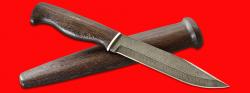 Нож охотничий Профессиональный таежный № 1, клинок дамасская сталь, рукоять венге, деревянный чехол