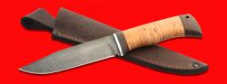 """Нож """"Байкал"""", клинок дамасская сталь, рукоять береста, с отверстием под темляк (ремешок)"""