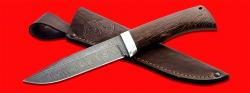 Нож Байкал, клинок дамасская сталь, рукоять венге, с отверстием под темляк (ремешок)