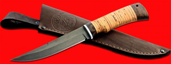 """Нож """"Джигит"""", клинок сталь Х12МФ, рукоять береста, с отверстием под темляк (ремешок)"""