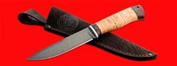 Нож Мясник, клинок сталь Х12МФ, рукоять береста, с отверстием под темляк (ремешок)
