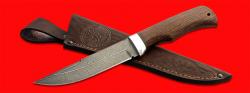 Нож Селигер, клинок дамасская сталь, рукоять венге, с отверстием под темляк (ремешок)
