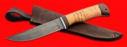 Нож Селигер, клинок дамасская сталь, рукоять береста, с отверстием под темляк (ремешок)