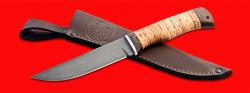 Нож Селигер, клинок сталь Х12МФ, рукоять береста, с отверстием под темляк (ремешок)