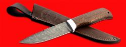 """Нож """"Старатель"""", клинок дамасская сталь, рукоять венге, с отверстием под темляк (ремешок)"""