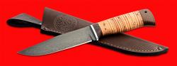 Нож Турист, клинок сталь Х12МФ, рукоять береста, с отверстием под темляк (ремешок)