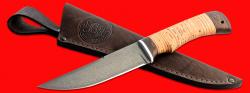 Нож Ягуар, клинок сталь Х12МФ, рукоять береста, с отверстием под темляк (ремешок)