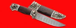 Авторский нож Сафари, клинок дамасская сталь, рукоять венге, мельхиор
