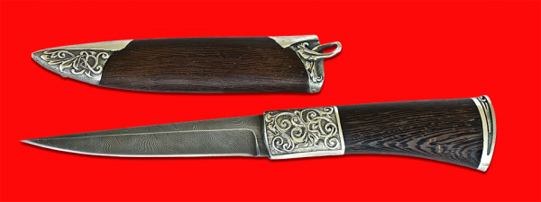 """Авторский нож """"Перо"""", клинок дамасская сталь, рукоять венге, мельхиор"""