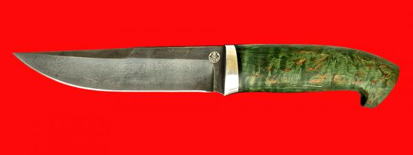 """Нож """"Марал"""", клинок булатная нержавеющая сталь (нержавеющий булат), рукоять стабилизированная карельская берёза (цвет зелёный)"""