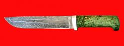 Нож Полярник, клинок тигельный булат, рукоять стабилизированная карельская берёза (цвет зелёный)