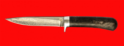 """Нож """"Засапожный-2"""", клинок тигельный булат, рукоять стабилизированная карельская берёза (цвет чёрный)"""