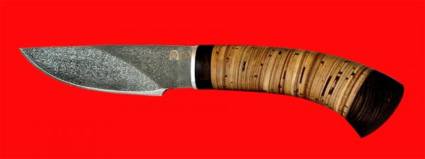 """Нож """"Рысь-2"""", клинок тигельный булат, рукоять береста"""