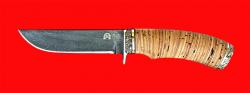 Нож Грибник-2, клинок тигельный булат, рукоять береста, мельхиор
