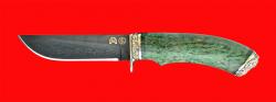 Нож Грибник-2, клинок литой тигельный булат, рукоять стабилизированная карельская берёза (цвет зелёный), мельхиор