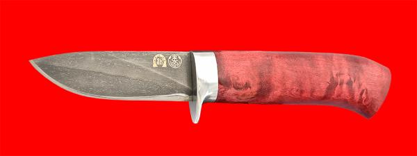 """Нож """"Сурок"""", клинок тигельный булат, рукоять стабилизированная карельская берёза (цвет розовый)"""