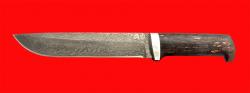 """Нож """"Полярник"""", клинок тигельный булат, рукоять стабилизированная карельская берёза (цвет чёрный)"""
