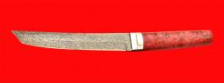 Нож Самурай большой, клинок тигельный булат, рукоять стабилизированная карельская берёза (цвет розовый)