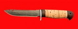 Нож Рыбацкий-3, клинок тигельный булат, рукоять береста, с отверстием под темляк (ремешок)