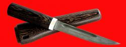 Нож Якутский большой, клинок дамасская сталь, рукоять венге, деревянный чехол