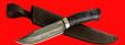 """Нож """"Промысловый большой"""", клинок тигельный булат, рукоять стабилизированная карельская берёза (цвет тёмно-синий)"""