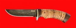 Булатный нож Грибник-2, клинок тигельный булат, рукоять береста