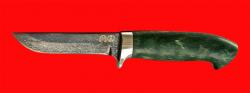 """Нож """"Финский"""", клинок тигельный булат, рукоять стабилизированная карельская берёза (цвет зелёный)"""