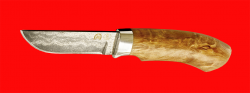 Охотничий нож Грибник (малый), клинок тигельный булат, рукоять стабилизированная карельская берёза (цвет натуральный)