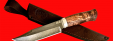 """Булатный нож """"Промысловый большой"""", клинок тигельный булат, рукоять стабилизированная карельская берёза (цвет натуральный)"""