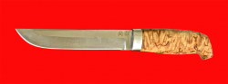 """Охотничий нож """"Скандинавский средний"""", клинок булатная нержавеющая сталь (нержавеющий булат), рукоять стабилизированная карельская берёза (цвет натуральный)"""