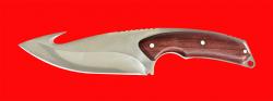 Охотничий нож с крюком, цельнометаллический, клинок сталь 65Х13, рукоять падук