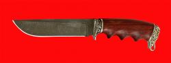 Подарочный нож Кузьмич, клинок дамасская сталь, рукоять падук, мельхиор