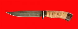 Нож Багира, клинок дамасская сталь, рукоять береста