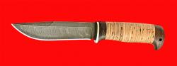 """Нож """"Бурлак"""", клинок дамасская сталь, рукоять береста"""