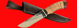 Нож Боровик, клинок сталь 95Х18 со следами ковки, рукоять береста