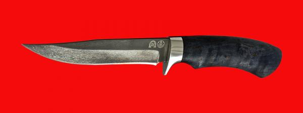 """Булатный нож """"Багира"""", клинок тигельный булат, рукоять стабилизированная карельская берёза (цвет тёмно-синий)"""