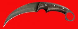 Нож-керамбит Коготь тигра, цельнометаллический, клинок дамасская сталь, рукоять венге