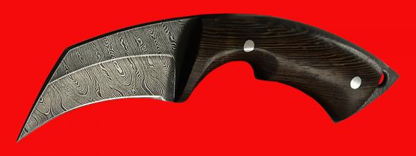 """Нож-керамбит """"Коготь собаки"""", цельнометаллический, клинок дамасская сталь, рукоять венге"""