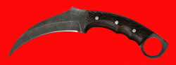 Нож-керамбит Коготь кошки, цельнометаллический, клинок дамасская сталь, рукоять венге